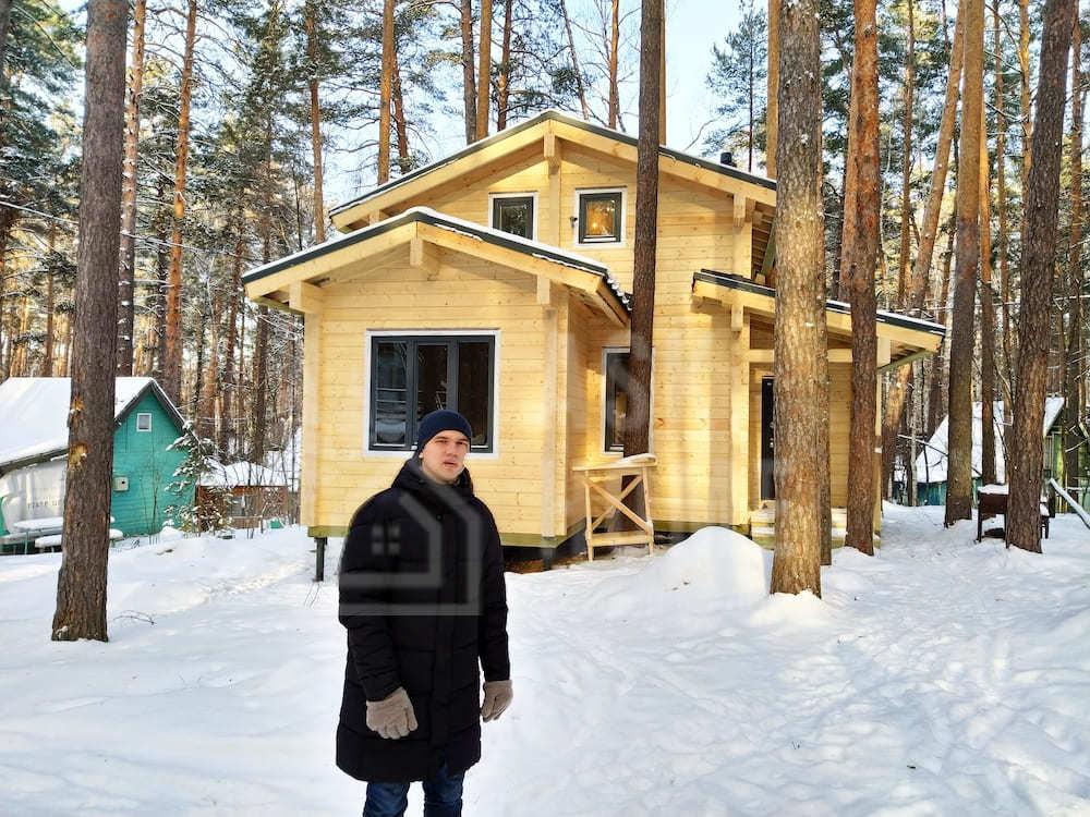 Дом разноэтажный с террасой из клееного бруса #КБ136_ЗеленыйБор, Казань