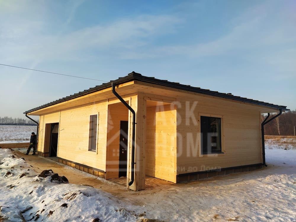 Каркасный гостевой дом - гараж из усиленного клееного каркаса под клееный брус, #Гараж_КБ387_Лаишево, г.Лаишево