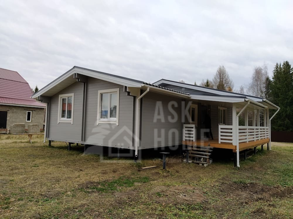 Одноэтажный дом из двойного бруса и каркасный пристрой,  #КБ65_Лаишево, Лаишевский район, Республика Татарстан